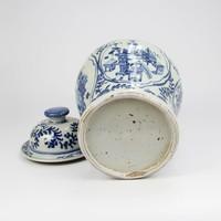 Chinese Gemberpot Blauw Wit Porselein Handgeschilderd D26xH40cm