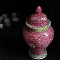 Chinese Gemberpot Roze Porselein Handgeschilderd Wan Shou Wu Jiang Langleven D20xH35cm