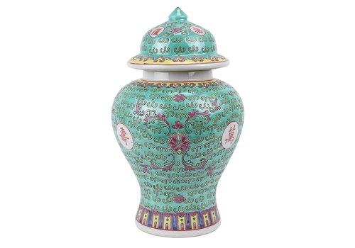 Fine Asianliving Chinese Ginger Jar Green Porcelain Wan Shou Wu Jiang Longevity D20xH35cm