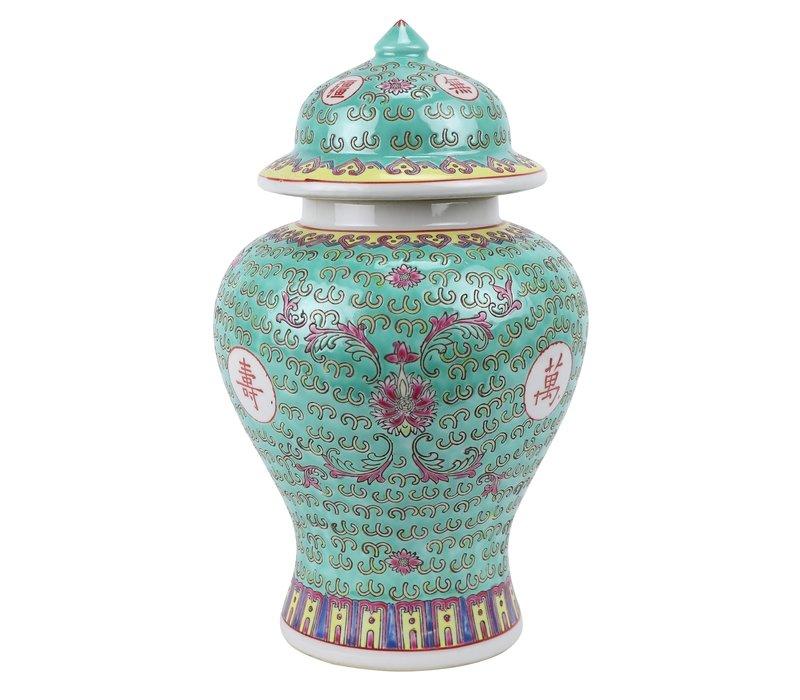Chinese Gemberpot Groen Porselein Wan Shou Wu Jiang Levensduur D20xH35cm