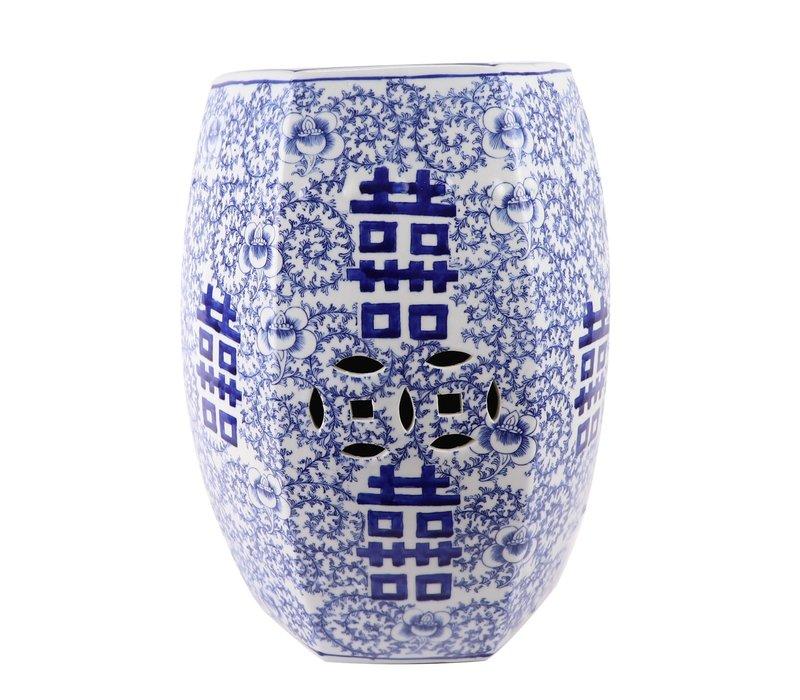 Keramieke Tuinkruk Blauw Wit Handgeschilderd Dubbele Blijdschap D33xH45cm