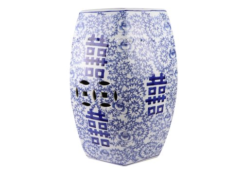 Fine Asianliving Keramik Gartenhocker Blau Weiß Handbemalt Doppeltes Glück D33xH45cm