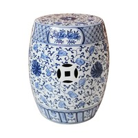 Keramieke Tuinkruk Blauw Wit Chinese Lotus Handgschilderd D33xH45cm