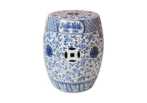 Fine Asianliving Ceramic Garden Stool Blue White Chinese Lotus Handpainted D33xH45cm