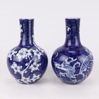 Chinese Vaas Blauw Wit Porselein Draak D15xH23cm