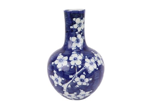 Fine Asianliving Chinese Vaas Blauw Wit Porselein Bloesems D15xH23cm