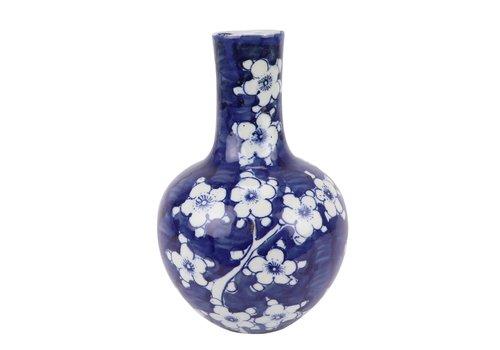 Fine Asianliving Chinese Vase Blue White Porcelain Blossoms D15xH23cm