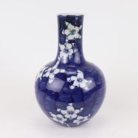 Chinese Vaas Blauw Wit Porselein Bloesems D15xH23cm