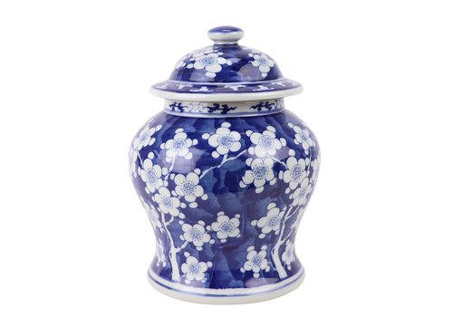 Fine Asianliving Chinese Ginger Jar Blue White Blossoms D18xH24cm