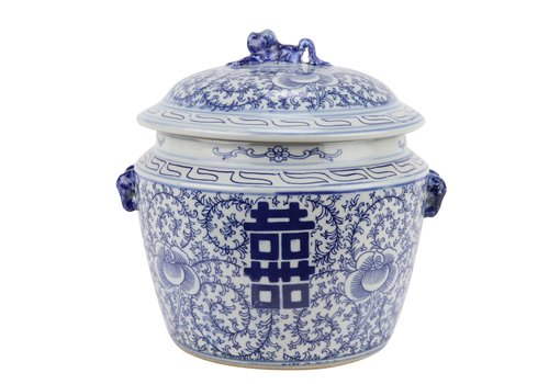 Fine Asianliving Chinese Ginger Jar Blue White Porcelain Double Happiness D25xH25cm