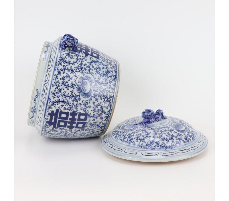 Chinese Gemberpot Blauw Wit Porselein Dubbele Blijdschap D25xH25cm