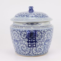 Chinese Ginger Jar Blue White Porcelain Double Happiness D25xH25cm