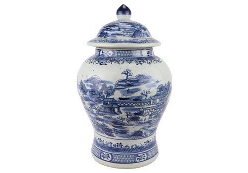 Fine Asianliving Chinese Ginger Jar Blue White Porcelain Scenery D29xH48cm