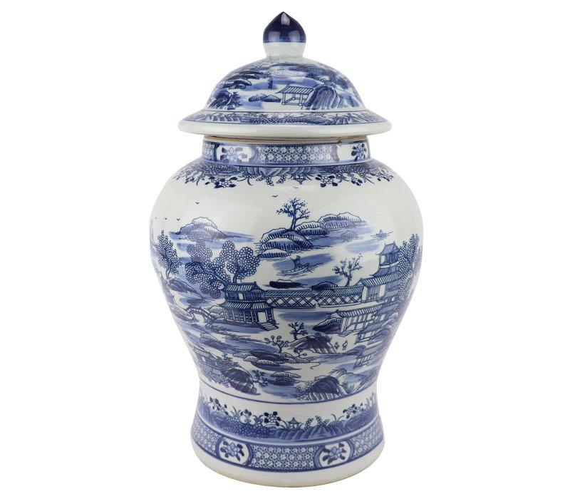 Chinese Gemberpot Blauw Wit Porselein Landschap D29xH48cm
