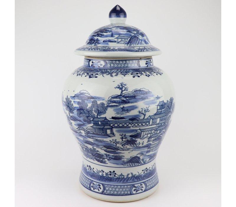 Chinese Ginger Jar Blue White Porcelain Scenery D29xH48cm