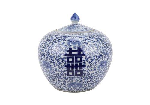 Fine Asianliving Chinese Gemberpot Blauw Wit Porselein Dubbele Blijdschap D22xH22cm