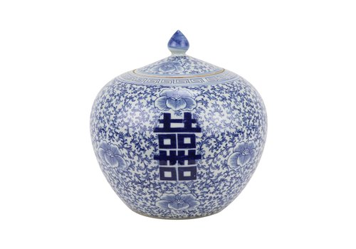 Fine Asianliving Chinese Ginger Jar Blue White Porcelain Double Happiness D22xH22cm
