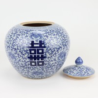 Chinese Ginger Jar Blue White Porcelain Double Happiness D22xH22cm