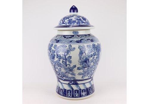 Fine Asianliving Chinese Gemberpot Blauw Wit Porselein Chinese Pioenrozen D28xH48cm