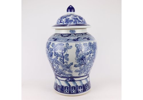 Fine Asianliving Chinese Ginger Jar Blue White Porcelain Chinese Peonies D28xH48cm
