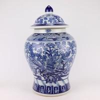 Chinese Gemberpot Blauw Wit Porselein Chinese Pioenrozen D28xH48cm