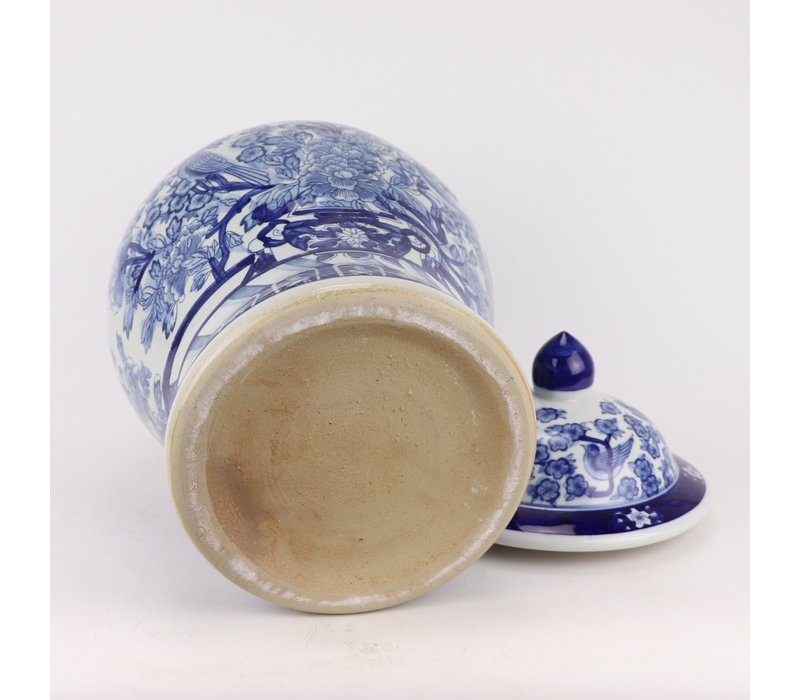Chinese Ginger Jar Blue White Porcelain Chinese Peonies D28xH48cm