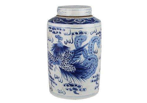 Fine Asianliving Chinese Gemberpot Blauw Wit Porselein Handgeschilderd Draak Phoenix D26xH40cm