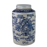 Chinese Gemberpot Blauw Wit Porselein Handgeschilderd Draak Phoenix D26xH40cm