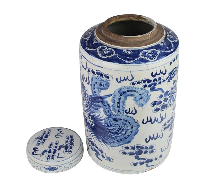 Chinese Ginger Jar Blue White Porcelain Handpainted Dragon Phoenix D26xH40cm