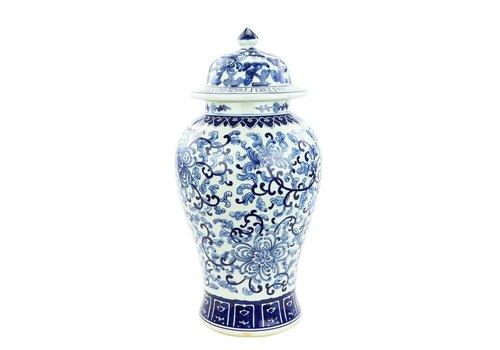 Fine Asianliving Chinese Gemberpot Blauw Wit Porselein Chinese Rozen D25xH46cm