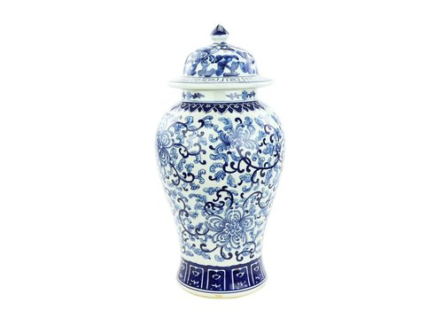 Fine Asianliving Chinese Ginger Jar Blue White Porcelain Chinese Roses D25xH46cm