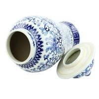 Chinese Gemberpot Blauw Wit Porselein Chinese Rozen D25xH46cm