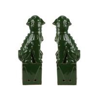 Chinese Foo Dogs Set/2 Porcelain Green Handmade D10xH27cm