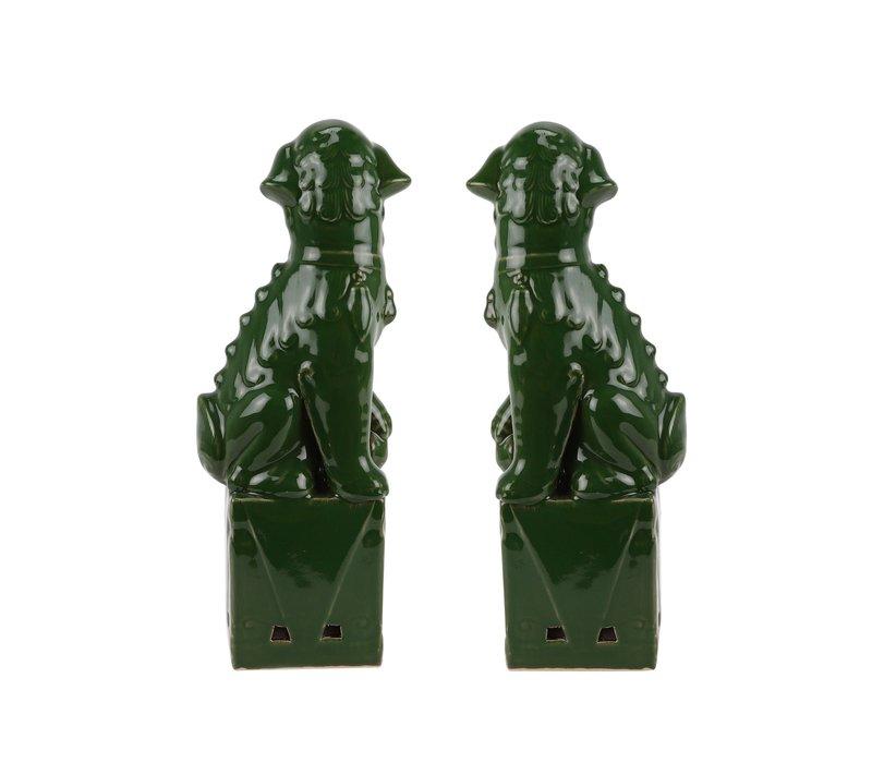 Chinese Foo Dogs Set/2 Porselein Groen Handgemaakt D10xH27cm