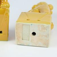 Chinese Foo Dogs Set/2 Porcelain Yellow Handmade D10xH27cm
