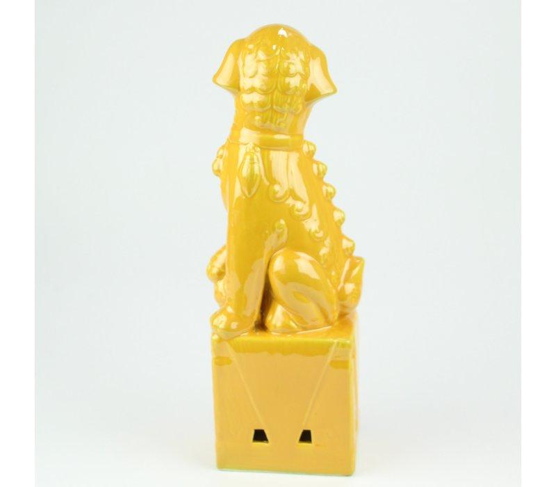 Chinese Foo Dogs Set/2 Porselein Geel Handgemaakt D10xH27cm