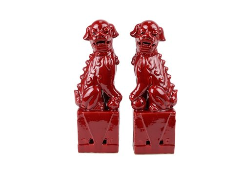 Fine Asianliving Chinese Foo Dogs Set/2 Porcelain Red Handmade D10xH27cm