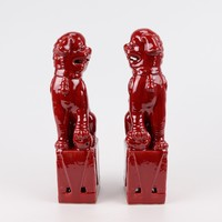 Chinese Foo Dogs Set/2 Porcelain Red Handmade D10xH27cm