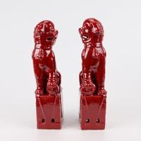 Chinese Foo Dogs Set/2 Porselein Rood Handgemaakt D10xH27cm