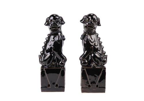 Fine Asianliving Chinese Foo Dogs Set/2 Porcelain Black Handmade D10xH27cm