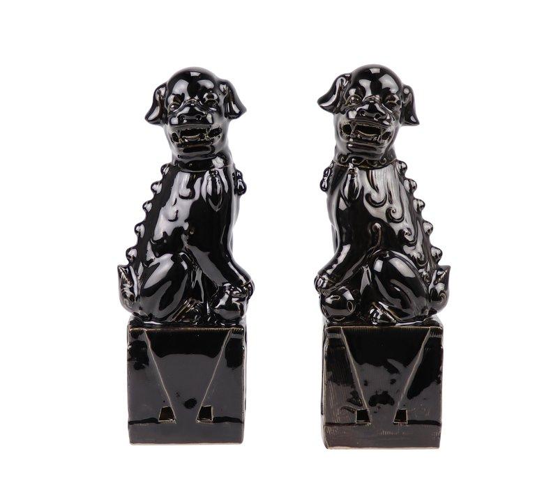 Chinese Foo Dogs Set/2 Porcelain Black Handmade D10xH27cm
