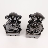 Chinese Foo Dogs Set/2 Porselein Zwart Handgemaakt D10xH27cm