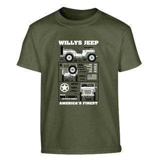 Kombat Kids Willys Jeep T-shirt - Olive Green