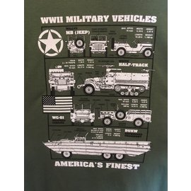 Kombat WW2 Military Vehicles America's Finest Olive Green T-Shirt