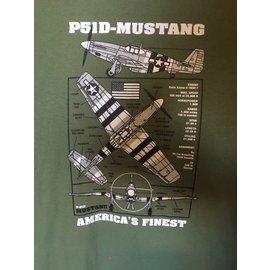Kombat P51D Mustang T-shirt - Olive Green