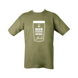 Kombat Beer Drinking Infidel T-Shirt - Olive Green
