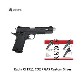 Secutor Secutor - Rudis XI - 1911 Custom Pistol (Silver Barrel - Co2 Powered - Gas Ready - Black - Ex. Display)