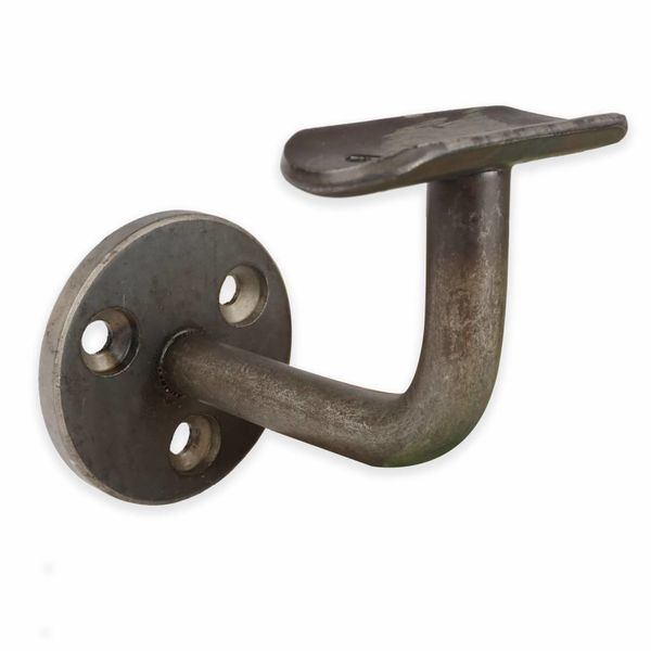 Handlaufhalter Stahl beschichtet Type 1 rund - Blaustahl Handlauf Halterung - schwarzer Stahl Handlaufträger