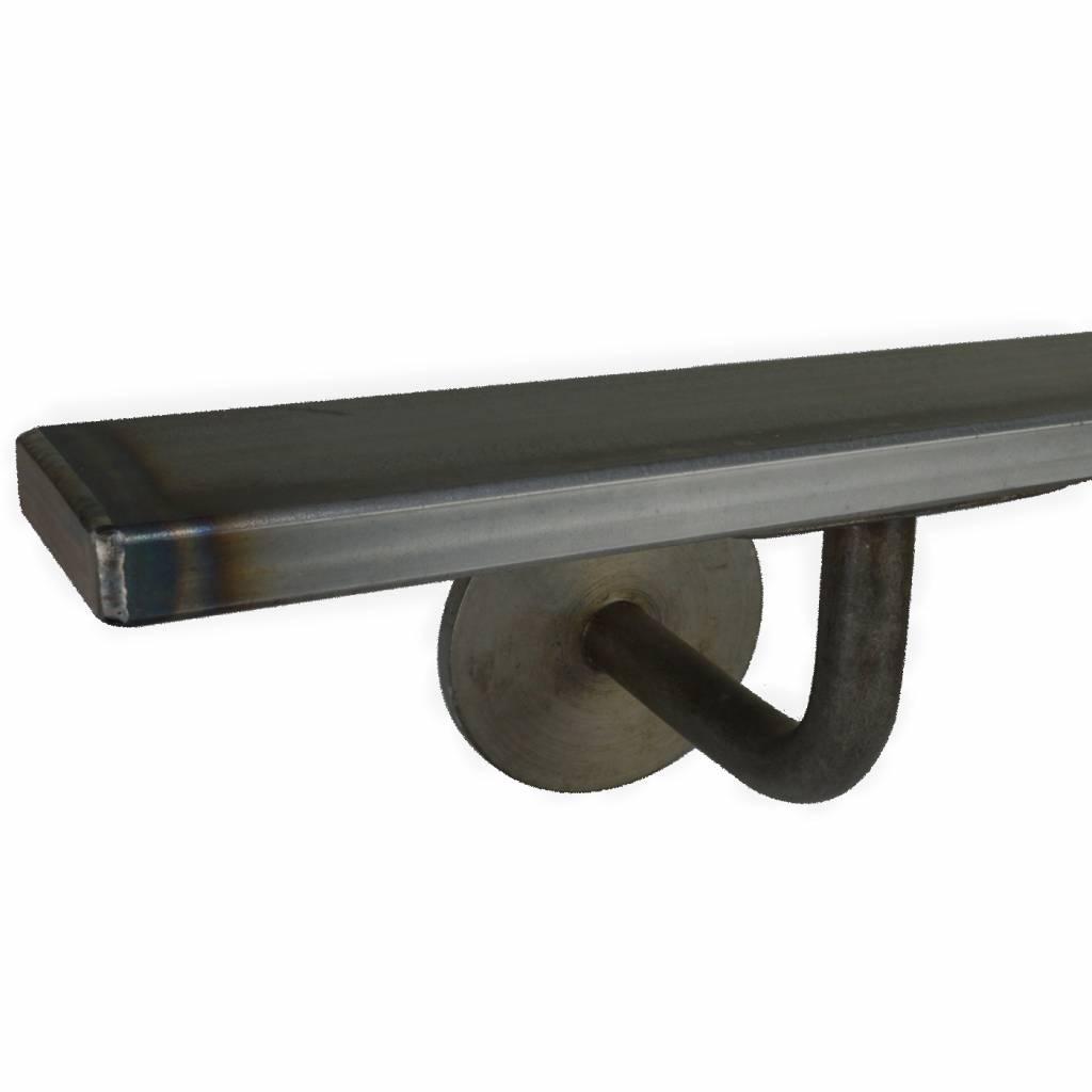 Handlauf Stahl beschichtet viereckig 40x10 Modell 3 - Rechteckig Treppengeländer - Treppenhandlauf warm gewalzten Blaustahl- schwarzer Stahl