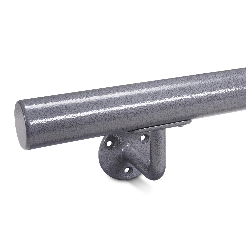 Handlauf Hammerschlag Optik beschichtet rund Modell 1 - Runde Treppengeländer - Treppenhandlauf mit grauem Hammerschlag Pulverbeschichtung